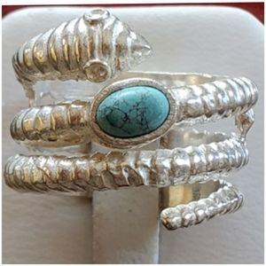 Genuine Santa Rosa Turquoise Snake Ring 8